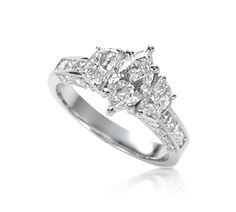 Marquise Engagement Ring with Moon Cut Sides, Princess Cut
