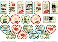 Free Valentine Printable Tags - Vintage Look