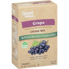 Walmart drink mix for 16 oz bottles. Sweetened with stevia and some cane sugar. Some have 1 gram cane sugar (coconut pineapple) others have 6 g. So I use half a packet of those, and they are still sweet enough and good. Great Value Grape Drink Mix, 7 count, 2.22 oz