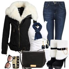 Another great outfit for the winter season! But this time it's a bit more subtle Stylish Coat, Stylish Plus, Stylish Outfits, Winter Outfits, Cute Outfits, Fashion Outfits, Night Outfits, Jean Outfits, Biker Chic