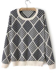 Beige Long Sleeve Diamond Patterned Loose Sweater US$29.84