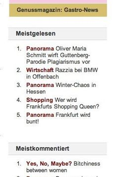 """My article """"Bitchiness between women"""" made it to #1 on Journal Frankfurt! I am happy to see people read and comment on it. Thank you for your support dear friends! ♥ You can read the article here: http://www.journal-frankfurt.de/journal_news/Yes-No-Maybe-56/Galia-Breners-column-Bitchiness-between-women-18069.html"""