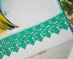 Stepped Running Stitch In Hand Embroidery (Step By Step & Video) Crochet Edging Patterns, Crochet Borders, Crochet Stitches, Cotton Crochet, Crochet Lace, Camping Gifts, Running Stitch, Crochet Purses, Lace Collar
