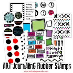Art Journaling  Rubber Stamps - New! 8 new art journaling cling mount rubber stamps!
