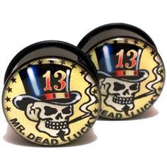 Pair Acrylic Ear Plugs Screw Fit Gauges Flesh Tunnels Earrings Mr Dead Lucky