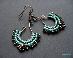 Fan earrings beadwoven on wire in turquoise and by MoonsafariBeads, $33.00