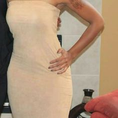 Micro suede fitted tube dress Soft micro suede fitted tube dress. Beige. Midi length Dresses Midi