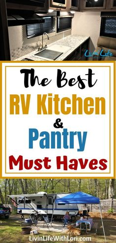 Don't forget these RV Kitchen and Pantry Must-Haves when packing your RV! These… Don't forget these RV Kitchen and Pantry Must-Haves when packing your RV! These kitchen staples will keep everyone a Happy Camper on your RV camping trips! Suv Camping, Camping Snacks, Checklist Camping, Travel Trailer Camping, Camping Essentials, Family Camping, Outdoor Camping, Camping Ideas, Camping Pantry