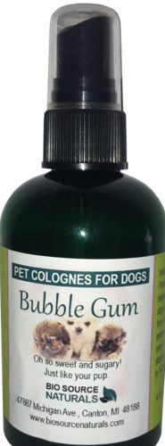 Bubble Gum Pet Cologne Spray (4 oz/ 113 ml), $6.95. Oh so sweet and sugary! Just like your pup.  -      - Just spritz on coats as a finishing touch to grooming and to control odors between baths  ·        - Mist gives coats a long-lasting bubble gum scent  ·        - Helps control pet odor between shampoos