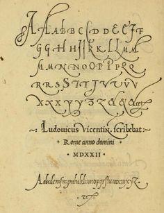 """A very old sample of italic lettering from the book, """"La operina di Ludouico Vicentino, da imparare di scriuere littera cancellarescha (1524)."""""""