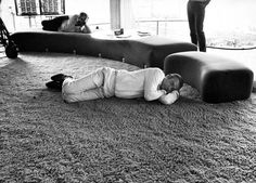 Actor Sean Connery, playing secret agent James Bond, takes a nap during a break from filming Diamonds Are Forever in Las Vegas, 1971