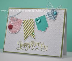 Hearts A Flutter Perfectly Penned Birthday Card made by Hand Stamped Style, THANKS for checking out my PIN- get more info on my BLOG and FACEBOOK PAGE at http://www.facebook.com/handstampedstyle