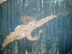 Antique Piano Shawl Embroidered Crane Beade Fringe '20's