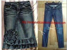 enagua jeans flor