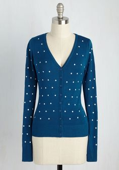 Dotted Dynamo Cardigan - Blue, Polka Dots, Casual, Nautical, Long Sleeve, Knit, Good, V Neck, Exclusives, Fall, Short, White