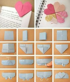 Origami: heart page marker. Note: when using origami paper with one colored side and one white side, the white side is Side A. Origami Diy, Origami Paper, Diy Paper, Paper Crafts, Heart Origami, Origami Hearts, Simple Origami, Origami Swan, Origami Boxes