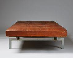 Daybed designed by Poul Kjaerholm for E Kold Christensen, — Modernity Poul Kjaerholm, Leather Ottoman, Daybed, Scandinavian Design, Chair, Lens, Furniture, Space, Home Decor