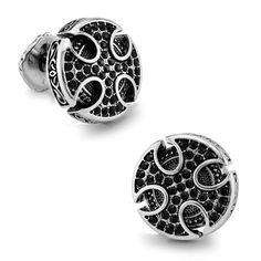 Vintage Cufflinks Platinum-plated Swarovski Crystal Black Cufflinks   Cosplay, t shirt, cufflinks and more   Buytra
