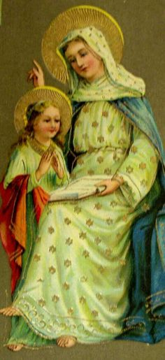 Anne teaching Mary, future mother of the Savior Catholic Art, Catholic Saints, Roman Catholic, Blessed Mother Mary, Blessed Virgin Mary, Religious Icons, Religious Art, Sainte Therese De Lisieux, People Reading