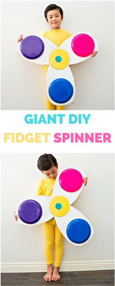 DIY Giant Fidget Spinner Costume. All you need is mainly cardboard to make this gigantic fidget spinner that actually spins!