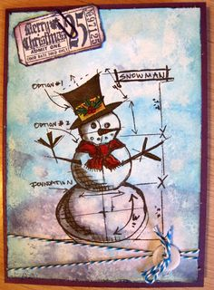 Christmas card using Tim Holtz stamps and Distress Inks.