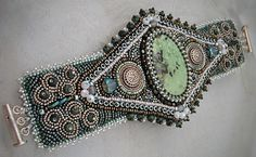 Bead Embroidery Cuff Bracelet Turquoise by DaynaMilesDesigns