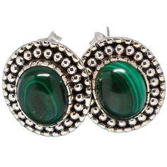 """Malachite 925 Sterling Silver Earrings 3/4"""" EARR330950"""