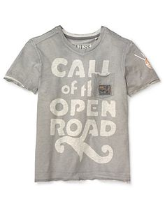 GUESS Boys' V Neck Print Tee - The road is calling!