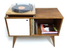 Midcentury-style record storage units by Vintage House Coruna Furniture, Solid Wood Sideboard, Record Storage, Vintage House, Retro Bedside, Sideboard Media Console, House Interior, Retro Interior, Storage