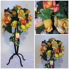 Sunshine Pillar Wooden Roses Bouquet  foreveryourswoodenroses.wordpress.com facebook.com/foreveryourswoodenroses Wooden Roses, Rose Vase, Rose Bouquet, Vases, Pots, Wordpress, Floral Wreath, Sunshine, Wreaths