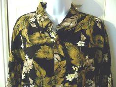 Ron Chereskin Hawaiian Shirt Mens XL X-Large Short Sleeve Black Gold Hibiscus #RonChereskin #Hawaiian
