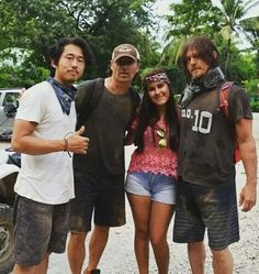 Norman Reedus, Andrew Lincoln, Steven Yuen, and fan in Costa Rica
