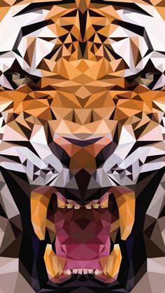 iOS8 Animals Tiger Polygon Pattern Drawn #iPhone #5s #wallpaper
