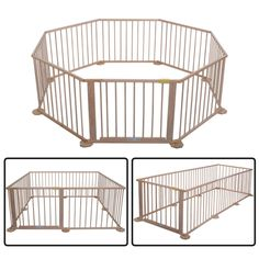 Large 6&8 Sides Foldable Wooden Baby Playpen Room Divider Indoor&Outdoor