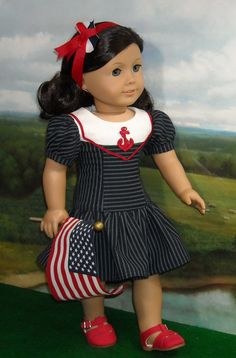 Navy Stripe Sailor Dress and Hairband for by SugarloafDollClothes. $49.00.