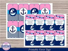 Ahoy Birthday pink and blue favor tags by EasyPartyPrintables,