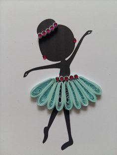 Baletnica. wydruk ozdobiony metodą quilling.