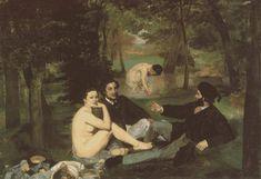 Manet's Le Déjeuner sur l'herbe. Revealed female bodies/Clothed male bodies.