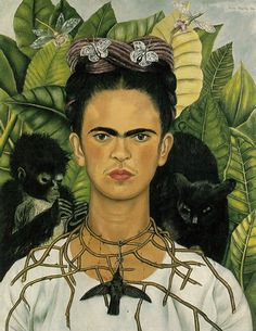"Belgrade-based designer Valentin made this GIF from Frida Kahlo's iconic 1940 painting ""Self-Portrait with Thorn Necklace and Hummingbird."""