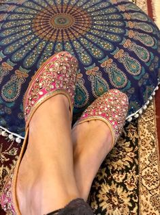 Excited to share the latest addition to my shop: Punjabi jutti - hot pink with embroidery and sequin work cushioned sole Bohemian Shoes, Indian Shoes, Indian Bridal Outfits, Stylish Sandals, Embellished Jeans, Pretty Shoes, Fashion Terms, Shoe Collection, Loafer Shoes