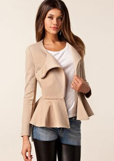 Beige Long Sleeve Ruffle Coat