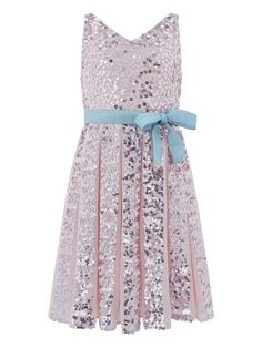 Our 'Neveah' dress for girls provides non-stop sparkle thanks to its sequin embellishments. This party piece has a pleated skirt and a shimmery ribbon waist belt, and is fully lined. Fastens with a concealed side zip. Embellished Dress, Sequin Dress, Girls Dresses, Summer Dresses, Fantasy Dress, Going Out Dresses, Pink Girl, Girl Fashion, Party Dress