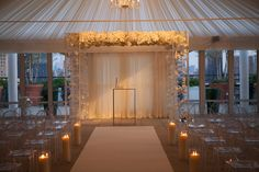 Twilight rooftop wedding.. With an Ovando original lucite #chuppah creation