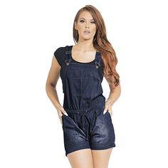 ad533276e0d2 Women s Drawstring Waist Short Denim Casual Romper Shortalls with Pockets