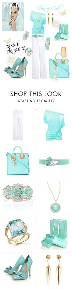 """Tiffany blue white and gold outfit"" by Diva of Cake  featuring Farhi by Nicole Farhi, Sophie Hulme, Blugirl Folies, Kate Spade, Accessorize, Ippolita, Bloomingdale's, Carvela Kurt Geiger, Valletta and Sydney Evan"