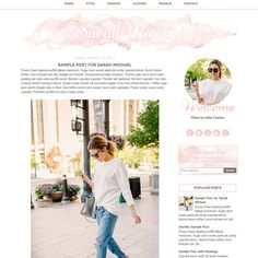Pink Watercolor Blogger Template Premade Blog by Studio1Mommy