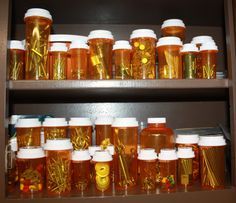 I save old prescription bottles to organize nails, nuts, bolts and tools etc in the basement.