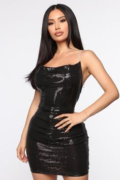 mini dress One Last Dance Sequin Mini Dress - Black One Last Dance Sequin Minikleid - Schwarz Metallic Mini Dresses, Sequin Mini Dress, Rhinestone Dress, Short Dresses, Summer Dresses, Dress First, Satin, Girl Fashion, Girl Outfits