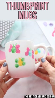 Mug painting is easy with this step-by-step tutorial. Make these cute thumbprint butterfly mugs for a birthday, Mother's Day or keepsake craft. Easy Mother's Day Crafts, Mothers Day Crafts For Kids, Diy Gifts For Kids, Fathers Day Crafts, Crafts For Kids To Make, Crafts For Teens, Kids Crafts, Diy And Crafts, Arts And Crafts