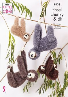Large sloth, Small sloth in King Cole Tinsel in King Cole - 9138 - Leaflet. Discover more patterns by King Cole at LoveCrafts. From knitting & crochet yarn and patterns to embroidery & cross stitch supplies! Shop all the craft materials you need to start Crochet Yarn, Knitting Yarn, Pom Pom Maker, Chunky Knitting Patterns, King Cole, Cross Stitch Supplies, Cascade Yarn, Paintbox Yarn, Yarn Brands